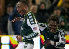 Rodney Wallace and Kalif Alhassan. #Portland #Timbers vs. Chicago Fire at Jeld-Wen Field on April 14, 2011. Photo by Thomas Boyd.