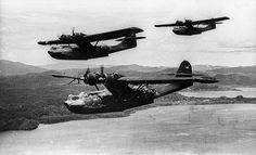 Three Consolidated PBY-5A Catalinas of patrol squadron VP-52 in the south-west Pacific in December 1943. VP-52 was based at Port Moresby, Ne...