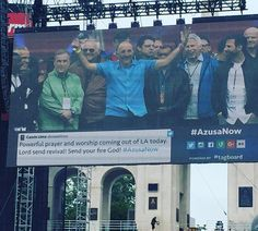 Line-up of legends at #azusanow on stage #LorenCunningham #ywam #mikebickle #joydawson #charlesstock #allanhood #billjohnson #louengle #cheahn #cindyjacobs #michaelloulinos praying together and for one another #revivalorbust #historymaking by joannamutch http://bit.ly/dtskyiv #ywamkyiv #ywam #mission #missiontrip #outreach