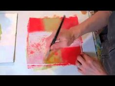Fresh Paint #3 - YouTube Jane Davies shows how to use a black pen and oil pastels with acrylic