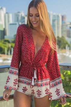 Dainty Red Floral Long Sleeve Rompers
