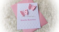 Invitatie/ botez tematic - fluturi roz