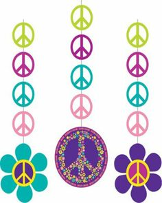 Groovy Girl 60's Themed Peace & Flowers 3 Hanging Cutouts Birthday Party Decor | eBay