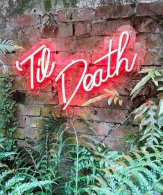 Til Death Neon Sign Wed love to create a bespoke Neon LED Sign just for you! Our signs are made to order. We can create anything your heart desires! Weddings, events, business signs, in your home - big, small - we can make it a reality! . . . . . . . . . . . . . . . . . . . . . . . . . . . . . .