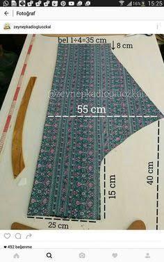 A-Line Umbrella Dress (Single Piece) : Marking and Cutting of the Inner Linin Tesettür Şalvar Modelleri 2020 Sewing Dress, Sewing Pants, Dress Sewing Patterns, Sewing Clothes, Clothing Patterns, Pattern Cutting, Pattern Making, Fashion Sewing, Diy Fashion