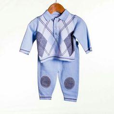 7b00326870d 2 Piece Long Sleeve Argylle Knit pattern ed Set By Zip Zap Baby Clothing.  Cute