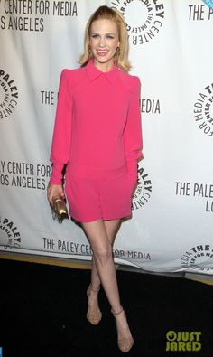 January Jones in pink. Love this mix of modern and retro.