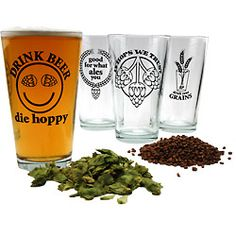 """In Hops We Trust"" Pint Glass  ""Drink Beer Die Hoppy"" Pint Glass  ""Good For What Ales You"" Pint Glass  ""Drink Your Grains"" Pint Glass"
