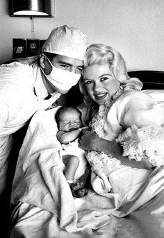 Jayne Mansfield with her newborn daughter, Mariska Hargitay and former Mr. Universe-Mickey Hargitay