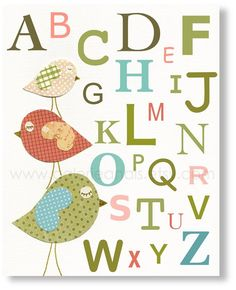 Nursery art print, nursery decor, baby nursery print, kids art, kids room decor, alphabet nursery, Three Little Birds Alphabet 8x10 print. $14.00, via Etsy.