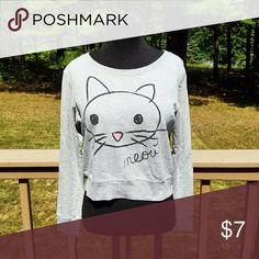 Forever 21 Meow Cat Sweater In like new condition. Super cute for fall. Size Medium. Forever 21 Tops Tees - Long Sleeve