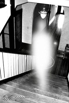 """This photo won 31st place in a Ghostly Evidence photo contest. It is called """"Haunted Stairs""""..... Real Ghost Photos, Ghost Images, Ghost Pictures, Creepy Pictures, Ghost Pics, Creepy Ghost, Scary, Ufo, Paranormal Pictures"""
