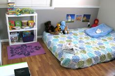 Peaceful Parenting: Our Montessori Home Montessori Toddler Rooms, Montessori Bedroom, Baby Bedroom, Kids Bedroom, Peaceful Parenting, Kid Spaces, Boy Room, Toddler Bed, Home Decor
