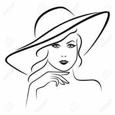 Abstract beautiful young lady portrait in a wide brimmed hat, hand drawing vector outline Stock Vector Pencil Art Drawings, Drawing Sketches, Beautiful Young Lady, Learn Art, Black And White Drawing, Drawing Techniques, Fabric Painting, Line Drawing, Painted Rocks