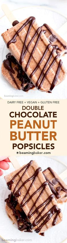 Double Chocolate Peanut Butter Banana Popsicles (V+GF): a 6 ingredient plant-based recipe for rich, creamy chocolate-drizzled peanut butter banana popsicles. #Vegan #GlutenFree #DairyFree | BeamingBaker.com