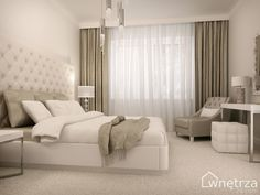 jasność pomieszczenia, maskownica nad oknem i biała obwódka na suficie, skórzany motyw nad łóżkiem, połączenie białego z tym kolorem - nie wiem jaki to :<, biurko, skórzane obicia fotela, krzesła (tej kostki), żyrandol