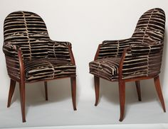 Pair of Rosewood Armchairs  :  Émile-Jacques Ruhlmann.  Rosewood and cut silk-velvet.  Art Deco.  France        c1929