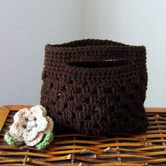 Crocheted Coffee Clutch Purse with Removable Buff Crochet Flower, Gem Button Center