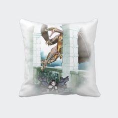 Shop The Dragon's Lair Vignette Throw Pillow created by Fantasy_Gifts. Dragon's Lair, Fantasy Gifts, Rock Wall, Red Eyes, Faeries, Vignettes, Decorative Throw Pillows, Tower, Dark