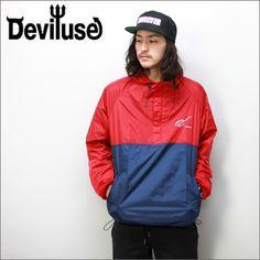 Deviluseナイロンジャケット2TONENYLON赤xブルー(デビルユース)
