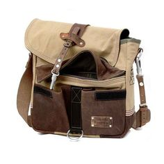 Recycled Leatherjacket Army Tent Messenger // by peace4youBAGS