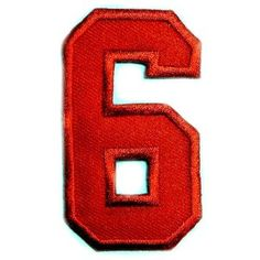 """Character Number 6 Six Red 2"""" Appliques Hat Cap Polo Backpack Clothing Jacket Shirt DIY Embroidered Iron On / Sew On Patch #5    Price: $7.99    . Free Shipping Check Price >> http://www.amazon.com/Character-Appliques-Backpack-Clothing-Embroidered/dp/B00BFCUR32"""