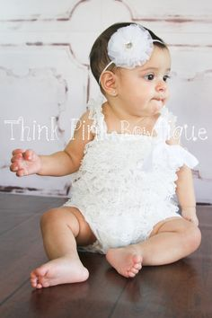 Petti Romper / Lace Ruffle Romper with straps by ThinkPinkBows, $11.95