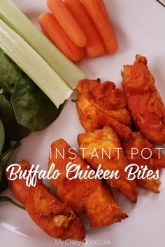 You're going to love these Instant Pot Buffalo Chicken bites! They're an easy Instant Pot dinner that can be prepared from frozen in about 20 minutes! #21dayfix #instantpot #recipes #beachbody #pressurecooker