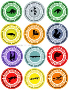 Wild Kratts Creature Power Discs with authentic colors and images from episodes. These have been resized for uniformity and to fit as many to a page as possible by NeatOnTheInside.com.