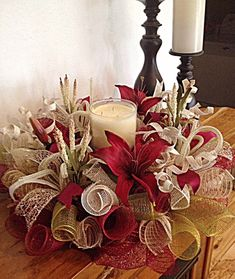 Burgundy Lily Centerpiece/Burgundy, Moss, Burlap and Cream Lily Deco Mesh Centerpiece/Burgundy Lily Arrangement/Fall Centerpiece Arrangement by CKDazzlingDesign Christmas Candle Decorations, Christmas Arrangements, Christmas Candles, Floral Arrangements, Christmas Trees, Christmas Christmas, Deco Mesh Crafts, Deco Mesh Wreaths, Burlap Wreaths