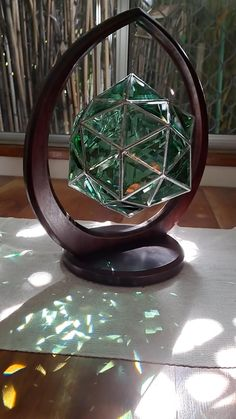 Glass Pendant Light, Glass Pendants, Pendant Lighting, Glass Artwork, Light Art, Geometric Art, Sacred Geometry, Emerald Green, Home Crafts