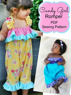 Download this adorable Candy Girl Romper PDF Sewing Pattern today! Cuteness overload!