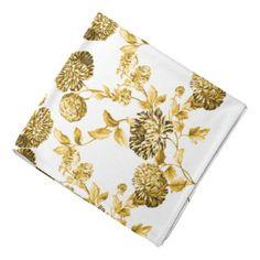 #vintage - #Gold & White Modern Botanical Floral Toile Bandana