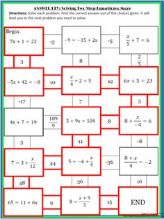 Solving 2-step Equations Maze from 4 The Love of Math on TeachersNotebook.com (2 pages)