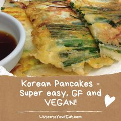 These #koreanpancakes are a favorite among my household! They are not only #VEGAN and #GLUTENFREE, but the batter can be made ahead of time and left in the fridge a few days before you fry - making it a very easy, go-to meal. 💚 #gutfriendly Korean Recipes, Korean Food, Korean Pancake, Vegan Pancakes, Unprocessed Food, Vegan Dinners, Scones, Glutenfree, Green Beans