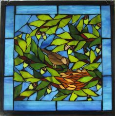Stained glass mosaic window ~ 'Dinner Time'