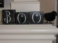 Vintage Primitive Boo Halloween wooden blocks decoration by erinjt, $15.00