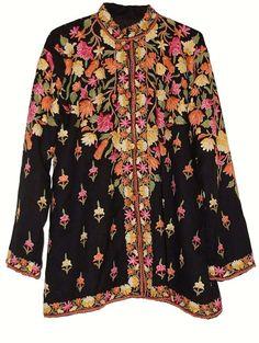 Kashmiri Woolen Jacket Black in Multicolor Embroidery #AO-004 - Best of Kashmir