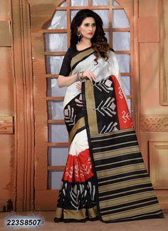 Divine White Coloured Cotton Silk Printed Saree