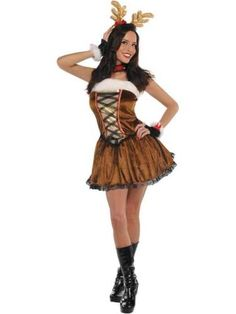 Adult-Woman-039-s-Christmas-Miss-Vixen-Reindeer-Girl-Fancy-Dress-Costume-8-10-New