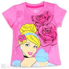 Cinderella Girls Glitter And Studs Print Top. #Tshirts #GirlsTops #Clothing