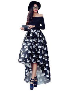 Trendy Slim Animal Print Asymmetry Off Neck Women Dress