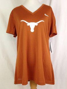 best service df135 58408 Texas Longhorns Nike Womens Shirt L Size Dri Fit V-neck Logo Big 12  Football for sale online   eBay