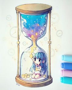 "yoai-sama: ""what time is it? Anime Drawings Sketches, Anime Sketch, Kawaii Drawings, Kawaii Art, Kawaii Anime, Dibujos Anime Chibi, Copic Art, Pretty Drawings, Art Folder"