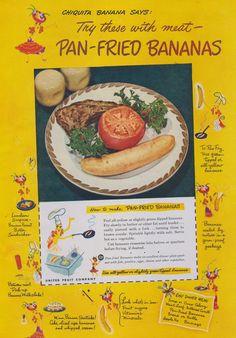 Items similar to 1949 Chiquita Banana Ad Pan-Fried Bananas Recipe Vintage Advertising Print Retro Yellow Kitchen Kitsch Wall Art Decor on Etsy Retro Ads, Vintage Advertisements, Retro Food, Vintage Food, Retro Recipes, Vintage Recipes, Pan Fried Bananas Recipe, Banana Art, Cute Fruit