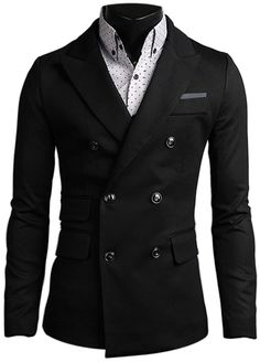New Mens Dandy Stylish Button Jacket Double Breasted Blazer Formal Casual  Jumper 1ed1b930c11d