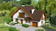 Village House Design, Village Houses, House Structure Design, Beautiful Small Homes, Home Exterior Makeover, Attic Design, Country House Plans, House Layouts, Home Fashion