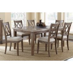 Greyson Living Fulham Marble Top Dining Set 7 Piece Sets Brown