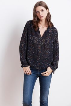 Mary Sheer Print Floral Top, Velvet by Graham and Spencer.
