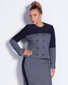 Дамско сако в тъмносиньо и бяло - Carlos #онлайн #пазаруване #дрехи #сако #букле #сиво #черно